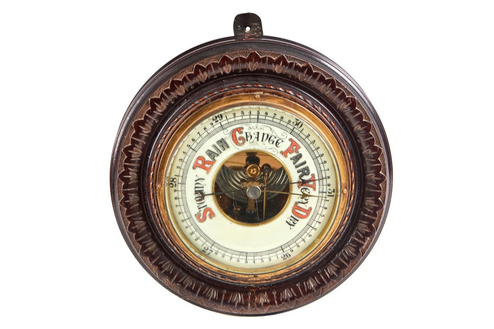 antique round aneroid wall barometer