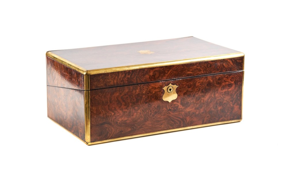 quality antique figured walnut writing box