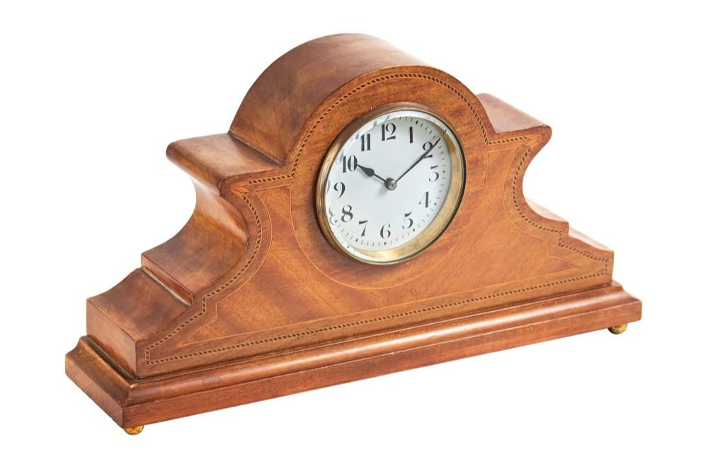 antique edwardian mahogany desk mantel clock