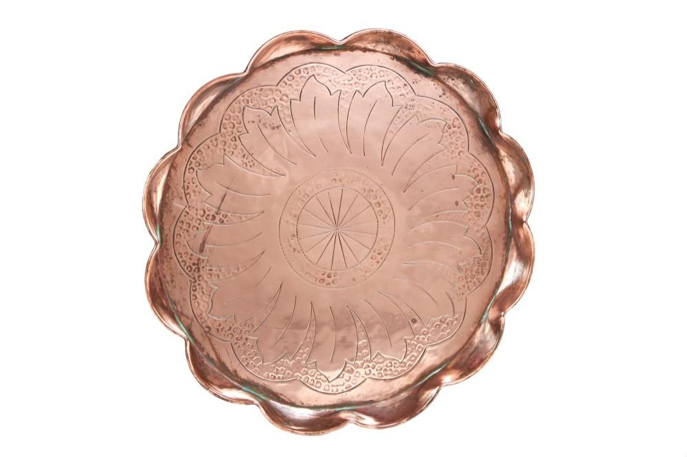 antique arts crafts copper tray