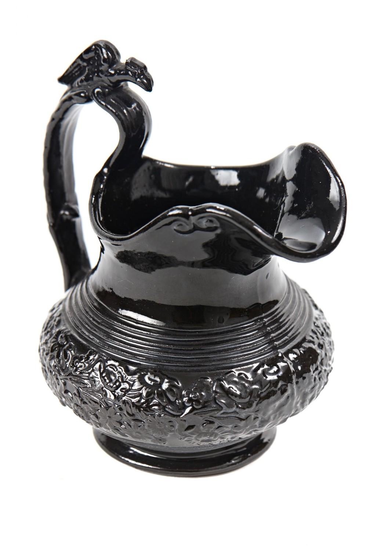 unusual antique black basalt pottery milk jug