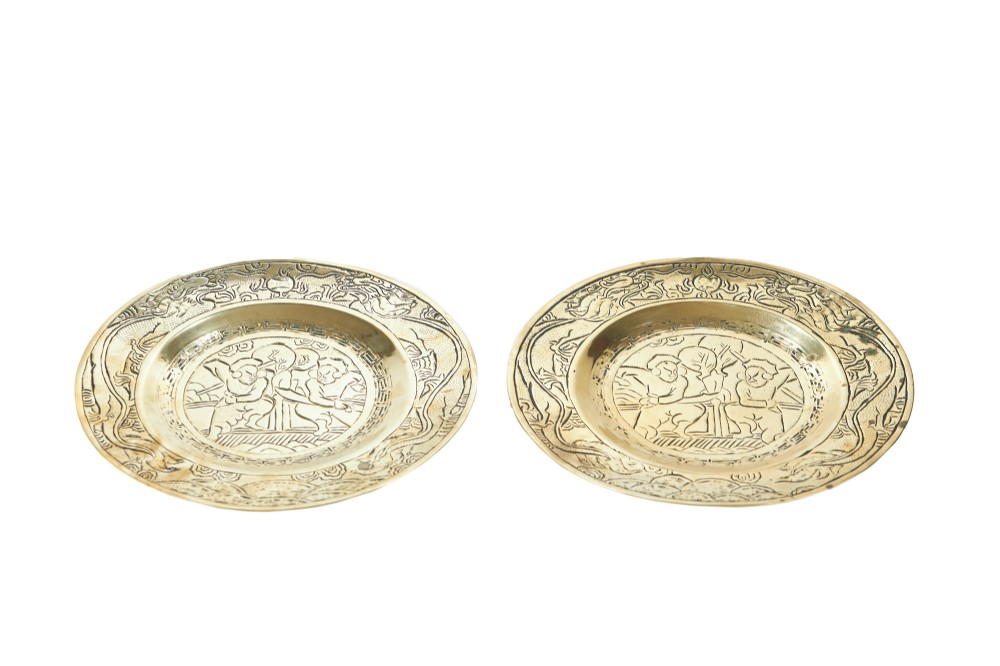 pair of antique hand engraved brass chinese plates