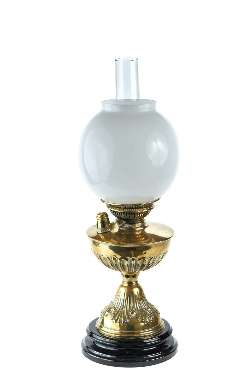 early 19th century embossed brass oil lamp
