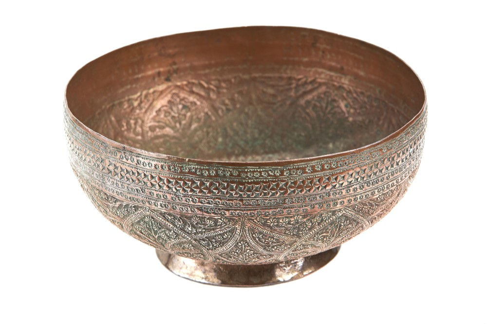 19th century indian copper bowl