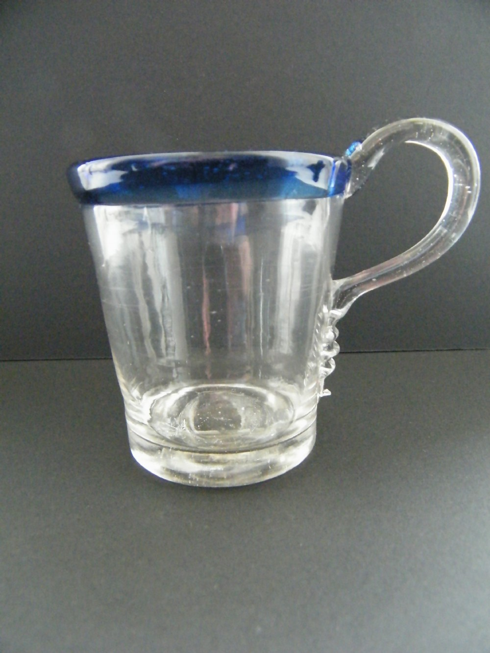 georgian glass punch cup with blue rim