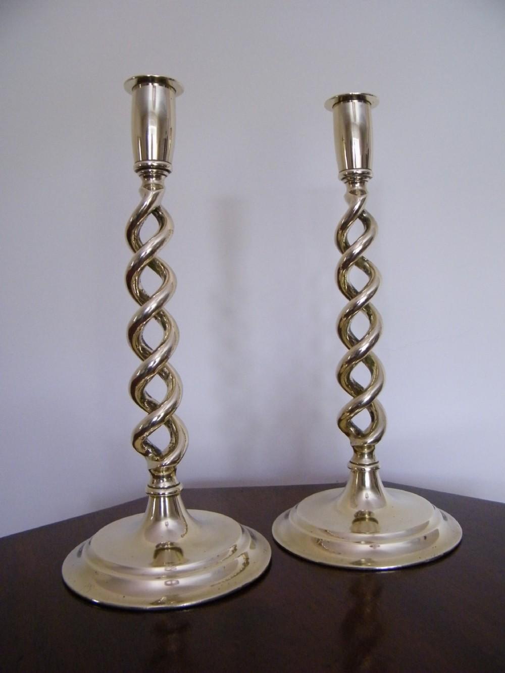 edwardian pair brass open twist tall candlesticks