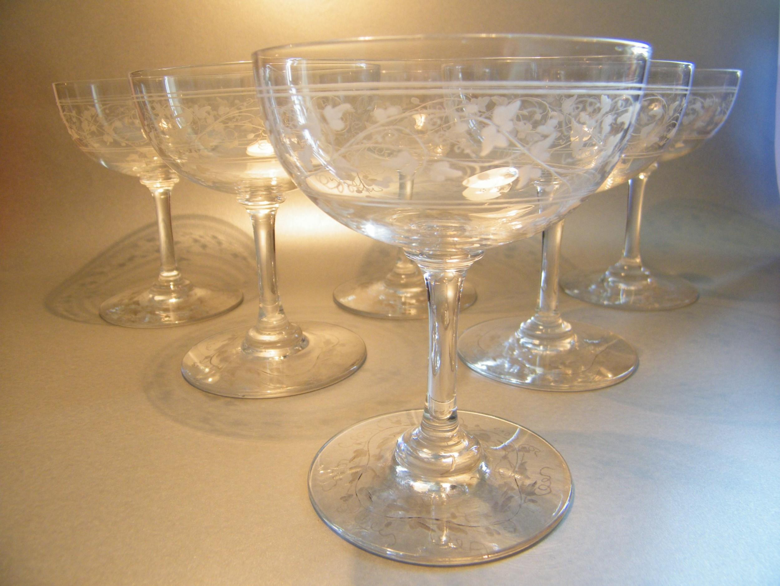 Set Of 6 Edwardian Ivy Etched Champagne Saucers Glasses 540279 Sellingantiques Co Uk