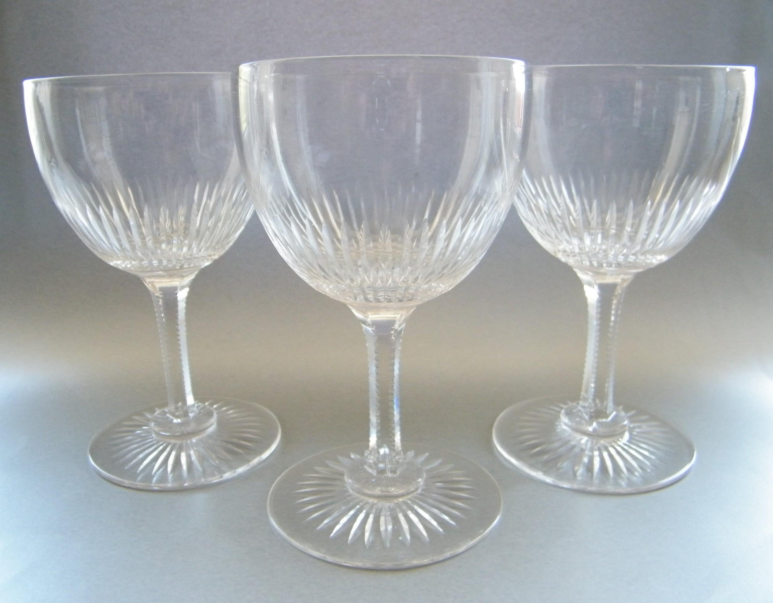 set of six large victorian crystal goblets