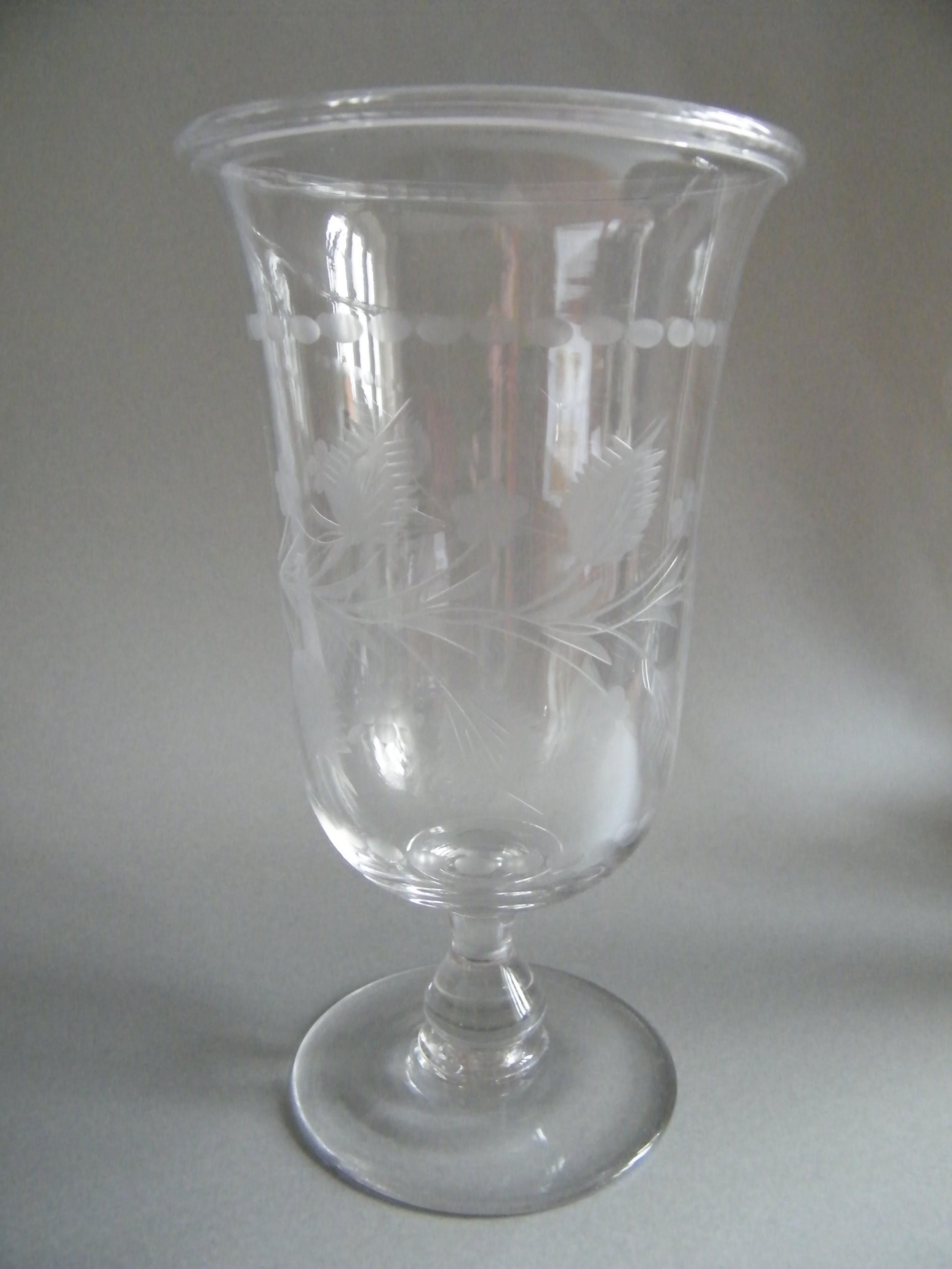 victorian engraved crystal pedestal celery vase