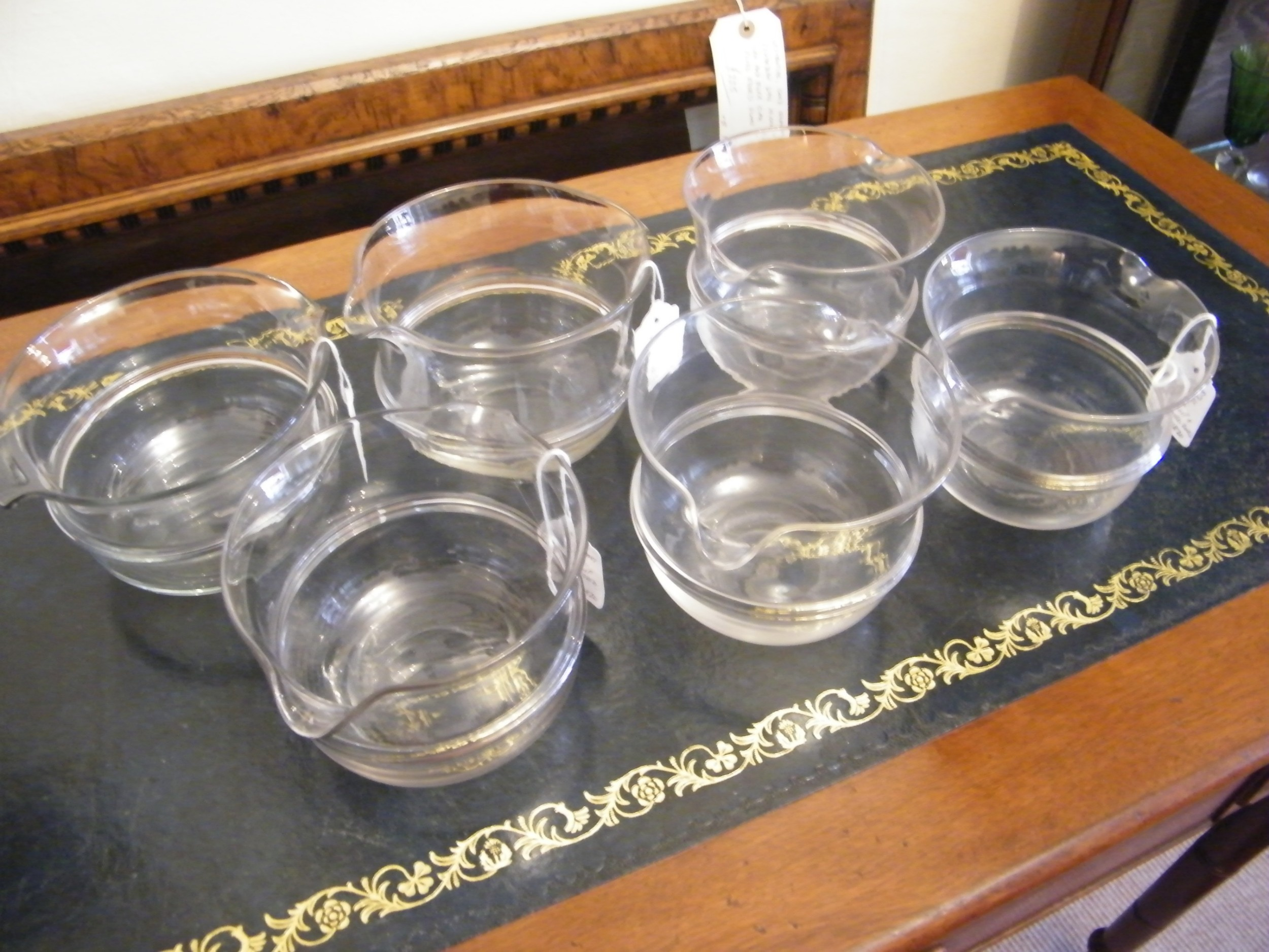 matched set of 6 regency banded glass rinsers coolers