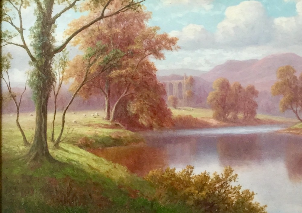 everett watson mellor oil painting 'bolton abbey from the wharfeyorkshire'