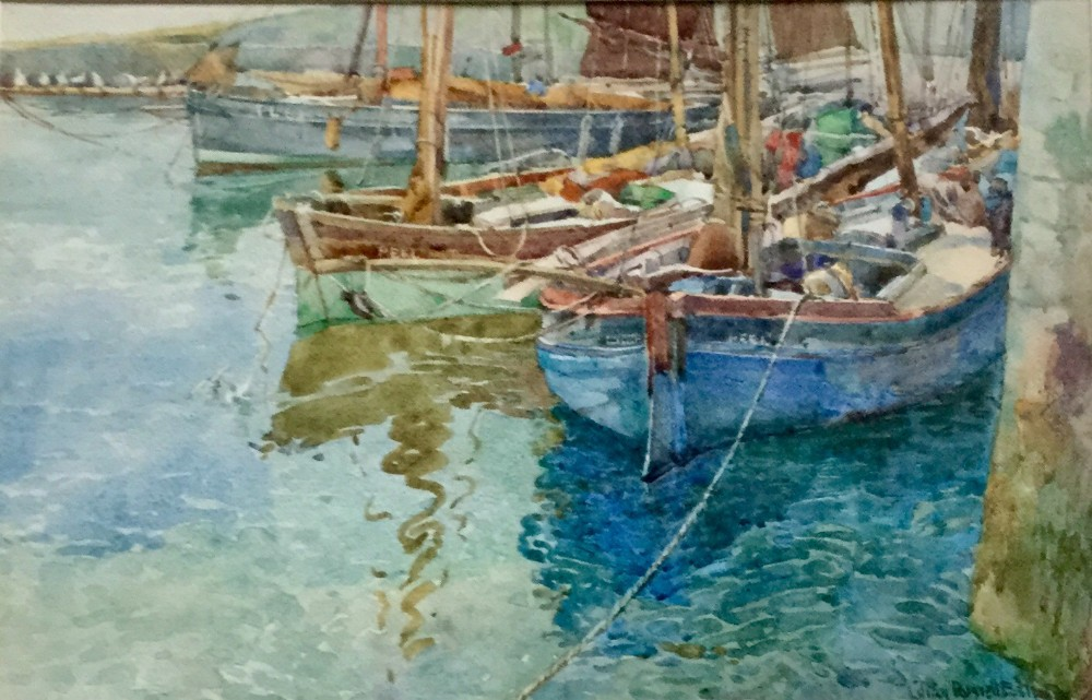 lillian russell bell watercolour fishing boats in peel harbour isle of man