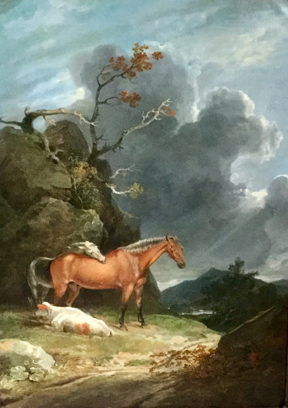 george arnald oil painting horses and a cow in a hilly landscape