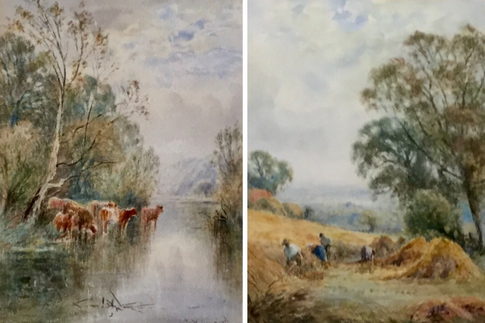 henry jkinnaird pair watercolours on the arun sussex and a sussex cornfield