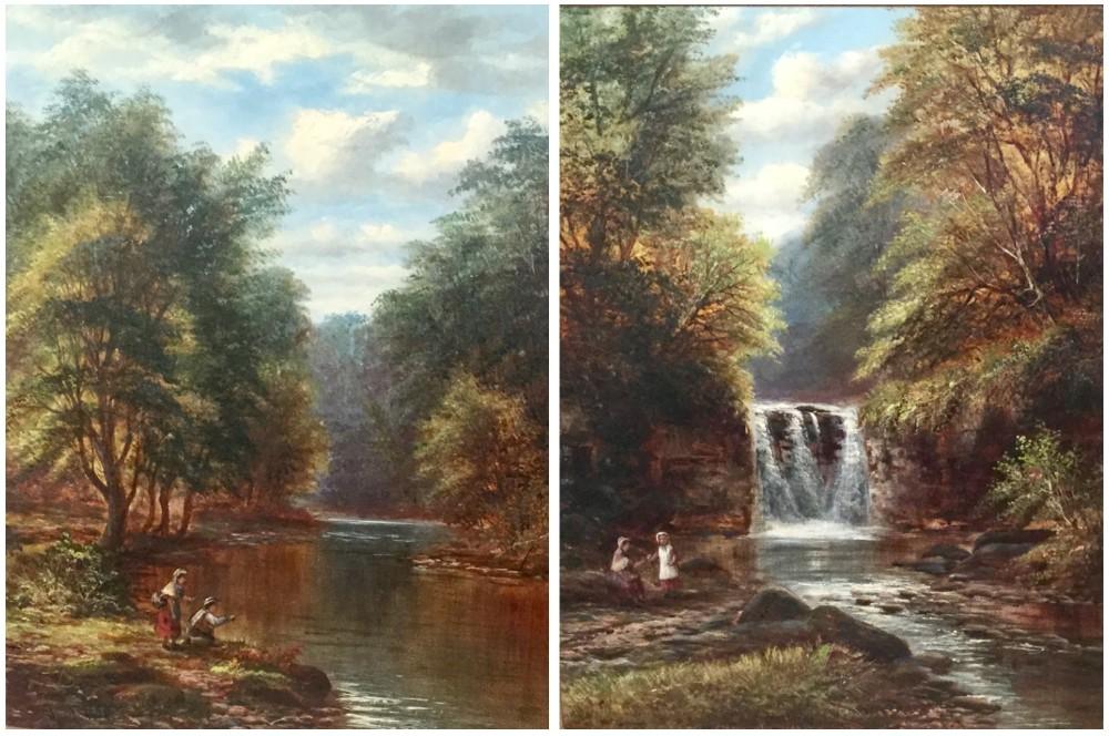 joseph mellor pair oil paintings on the river wharfebeneath the stridbolton woods yorkshire and goistock waterfallnear bingley