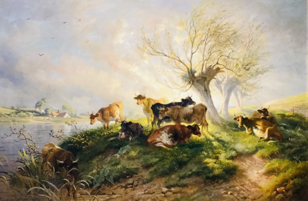 thomas george cooper oil painting cattle resting in a river landscape