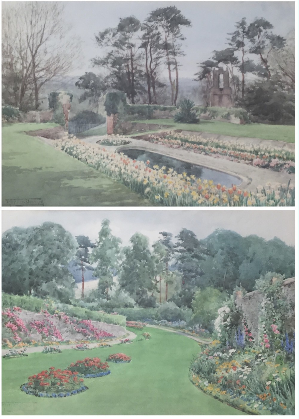 henry john sylvester stannard pair watercolours bishop castle gardens shropshire