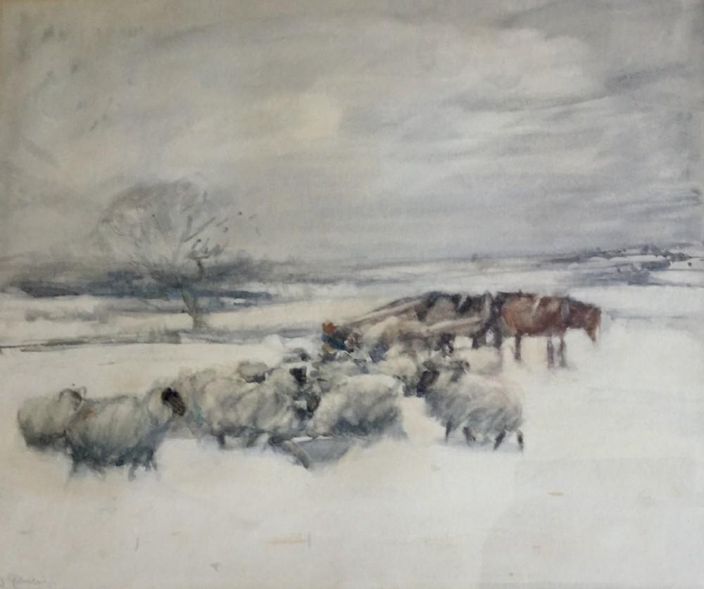 david thomas robertson watercolour farmer feeding sheep in the snow