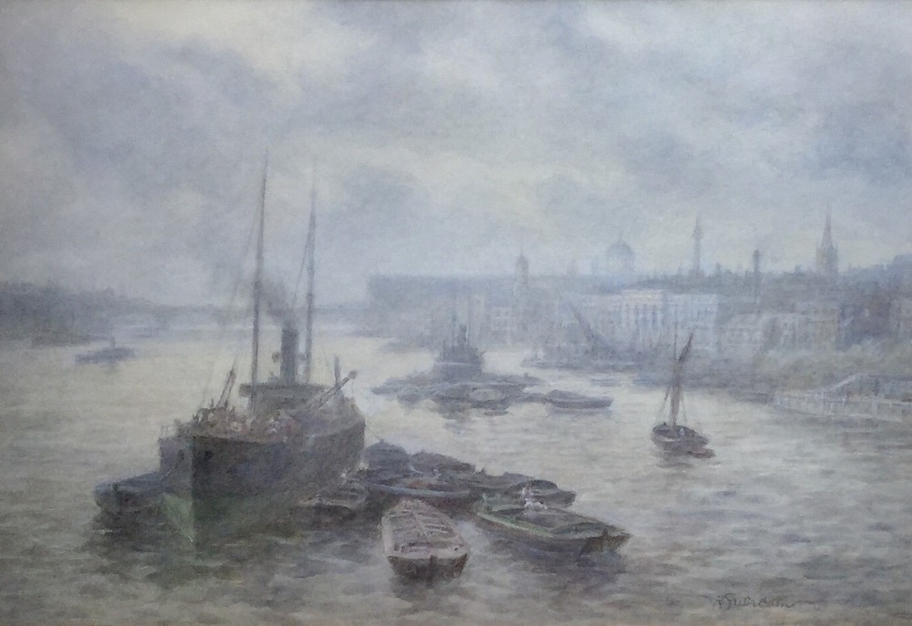 walter duncan watercolour the river thames with the city of london including st pauls cathedral