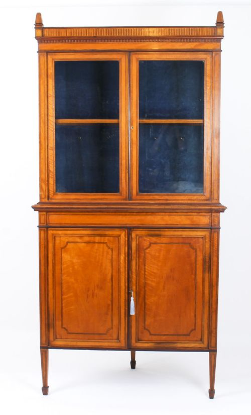 antique english sheraton revival satinwood corner cabinet c1890 19th c