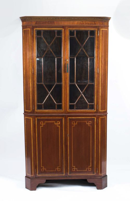 antique edwardian inlaid 2 door corner cabinet c1900