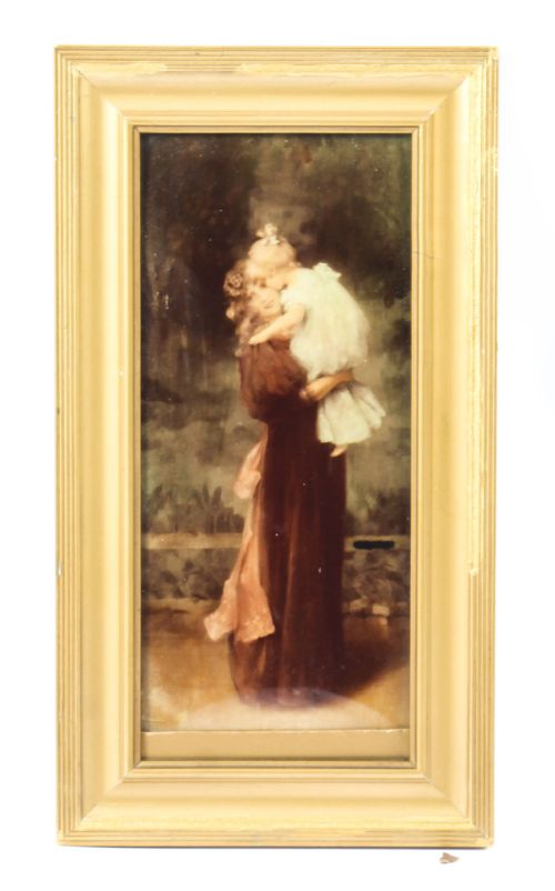 antique victorian crystoleum picture of a mother and child painting 19th c