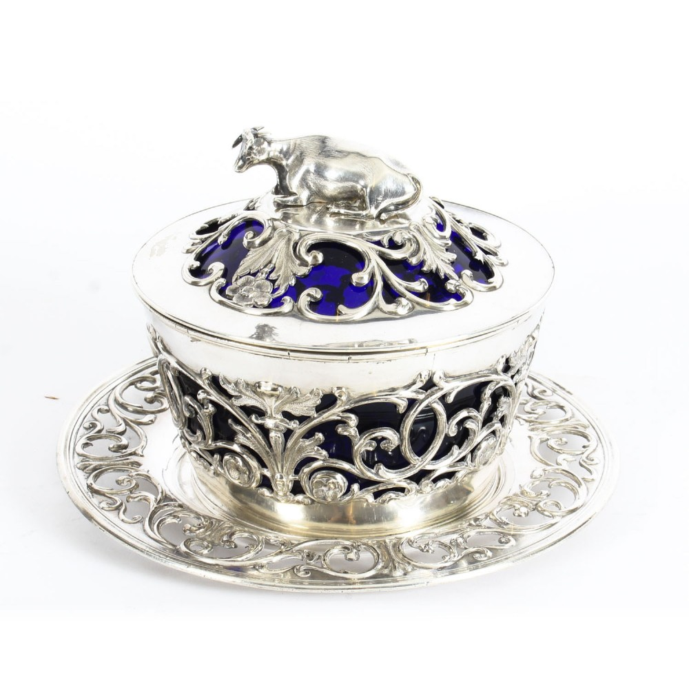 antique old sheffield silver plated bristol blue glass butter dish 19th c