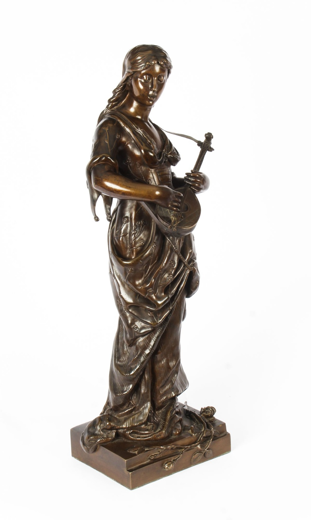 antique 2ft bronze maiden playing a lute by albert ernst carrier 19th c