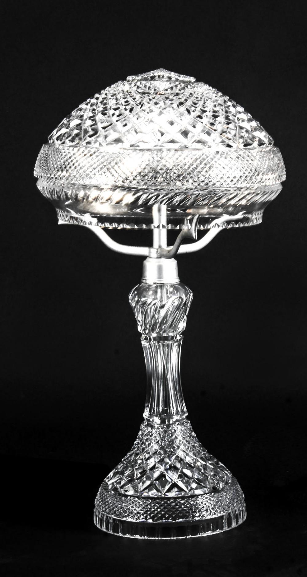 antique edwardian crystal cut glass table lamp circa 1900