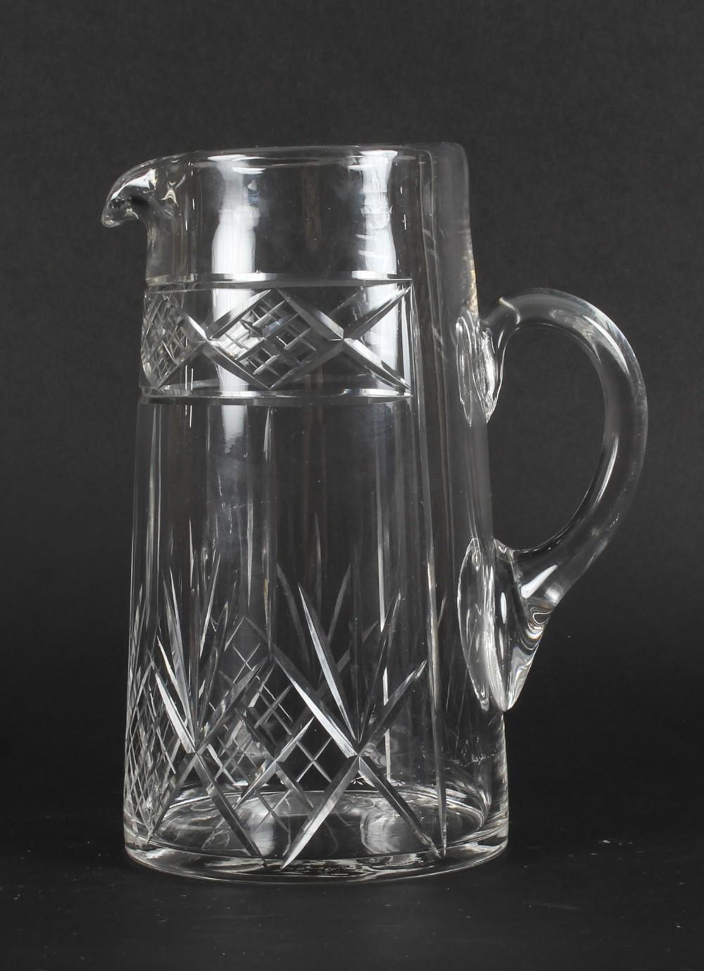 antique edwardian cut crystal cocktail jug pitcher c1900 20th century