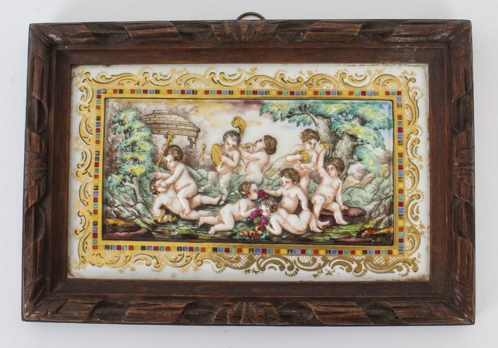 antique italian framed capodimonte porcelain plaque early 19th century 19x27cm