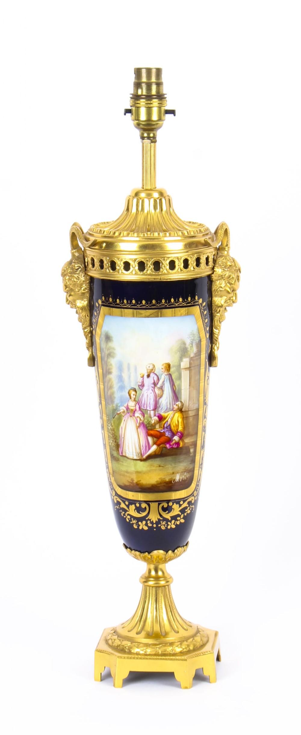antique bleu royale sevres porcelain ormolu table lamp c1870 19th c
