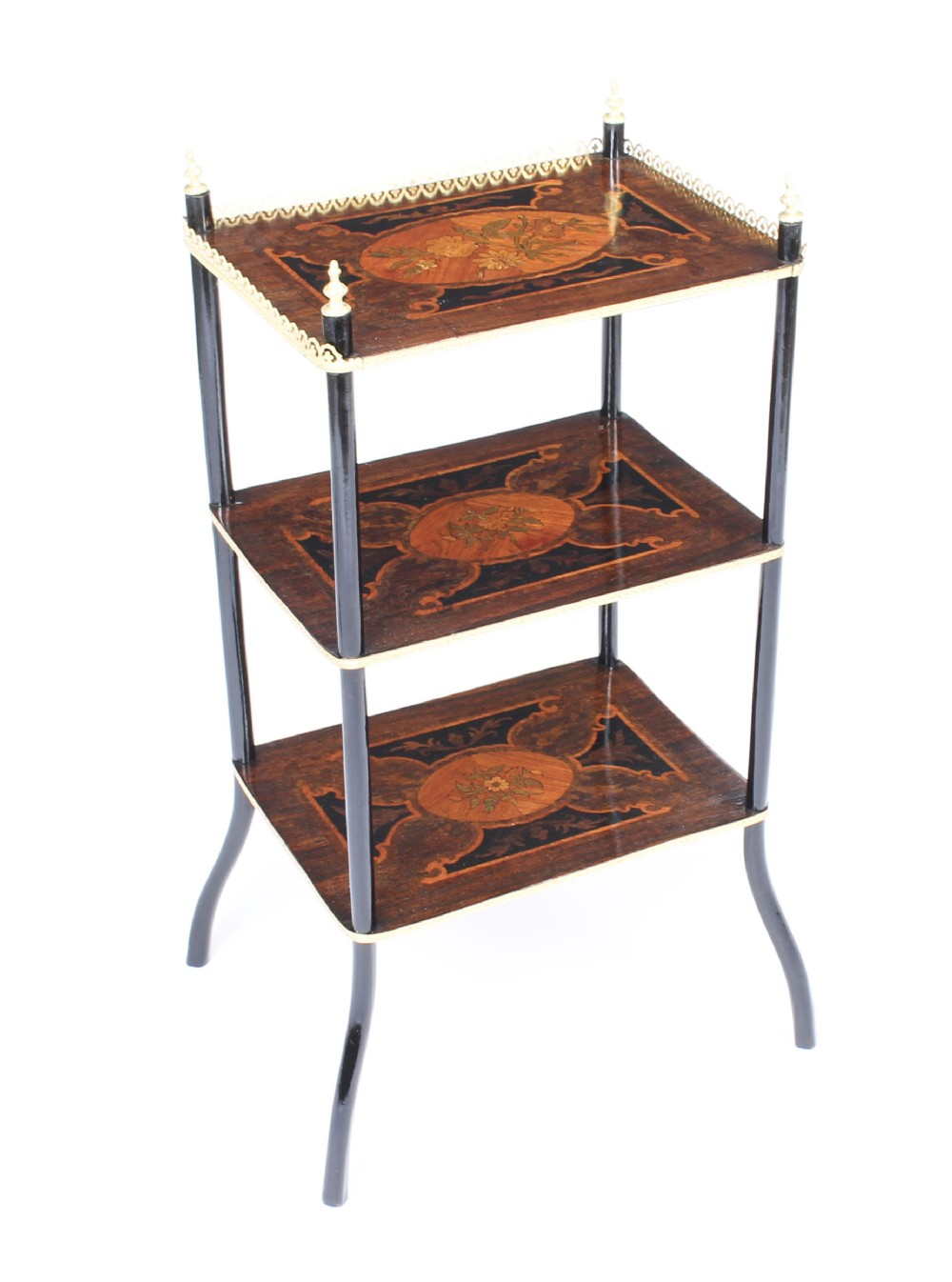 antique french marquetry ormolu threetier etagere table c1860