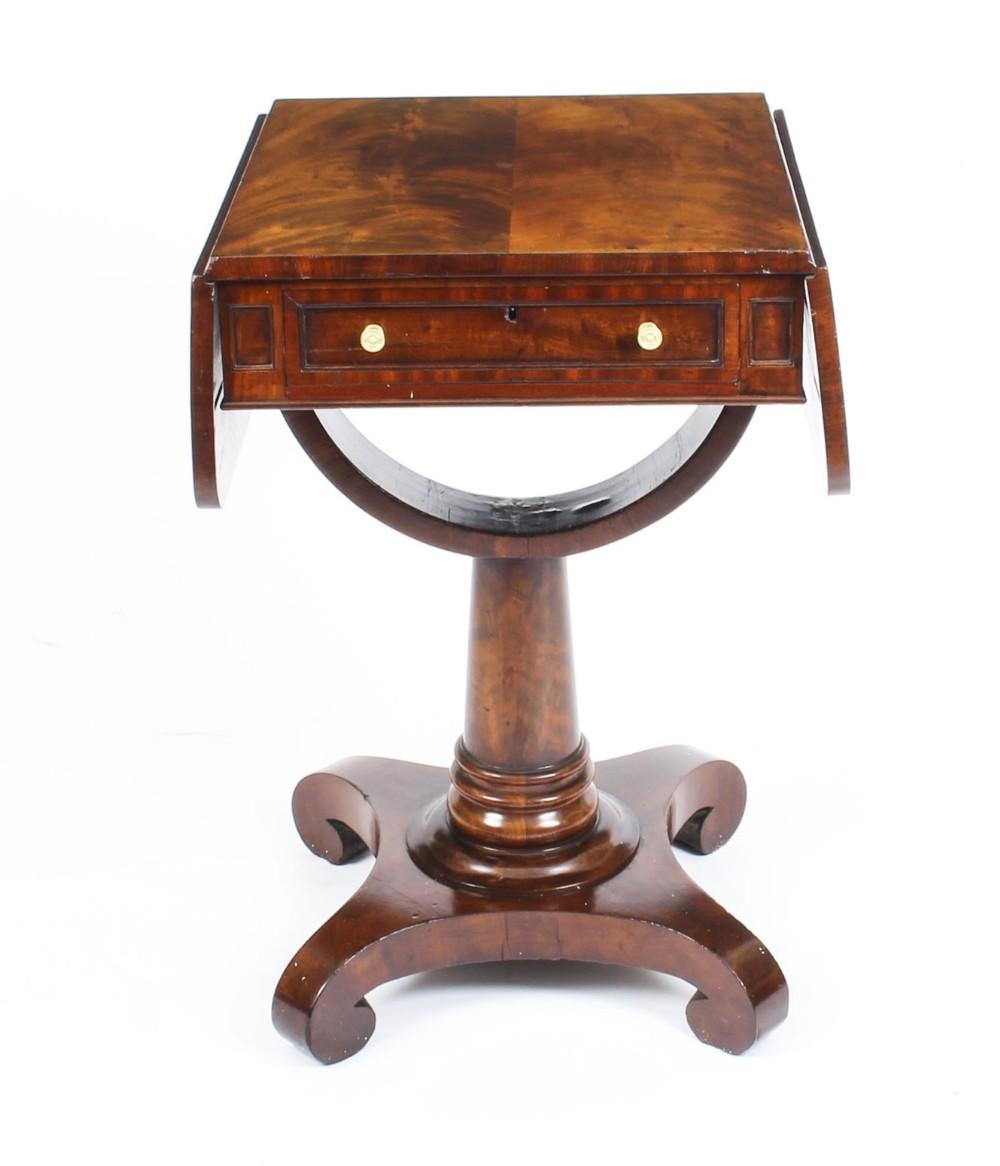 antique william iv flame mahogany drop leaf work table c1830 19th century