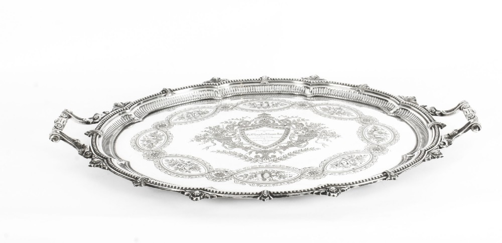antique victorian oval silver plated tray by mappin webb c 1880 19th century