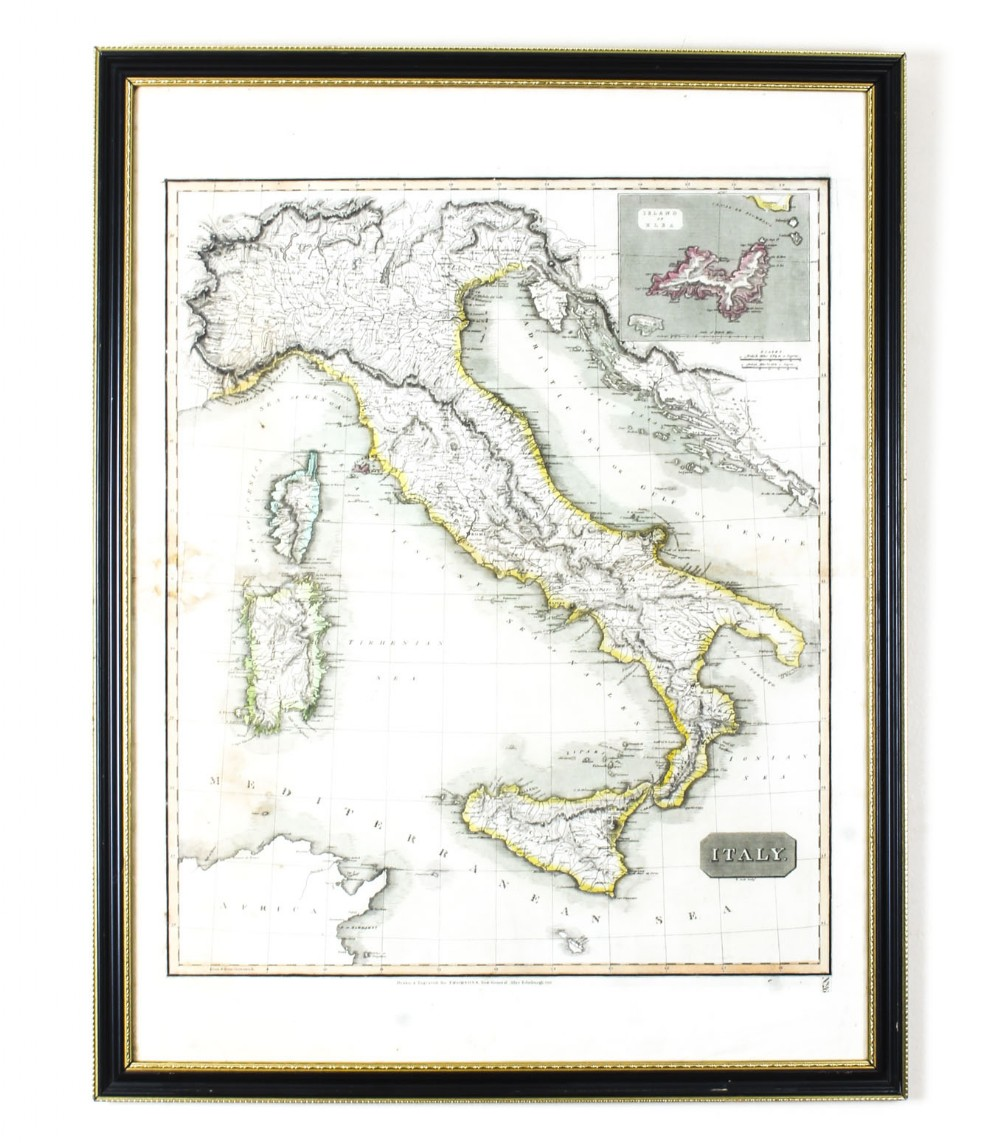 antique map of italy drawn engraved by r scott for thomsons edinburgh 1814