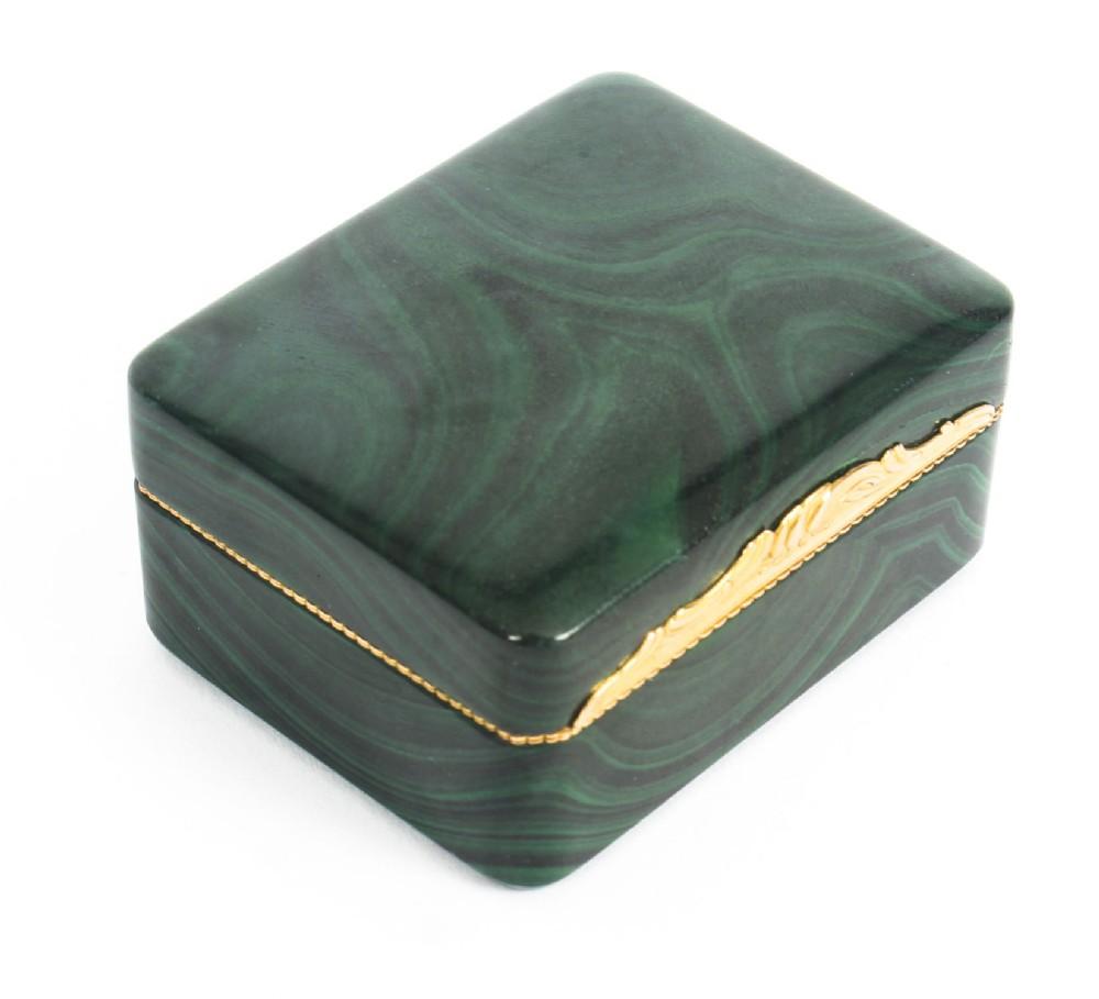 antique solid malachite gold lidded box casket 19th century