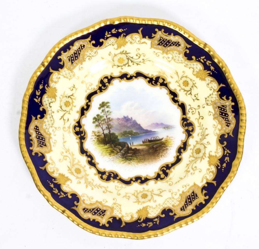 antique coalport porcelain plate lake menteith 1891 kilchurn castle