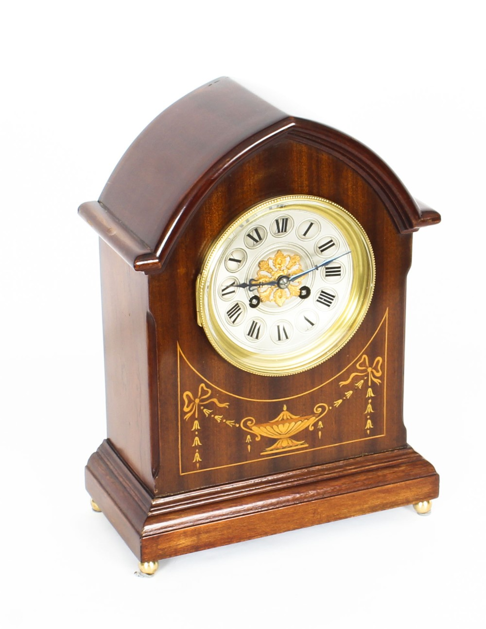 antique french mahogany marquetry mantle clock circa 1900