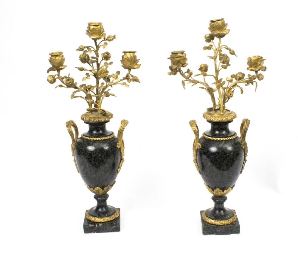 antique pair ormolu verde antico marble candelabra c1860