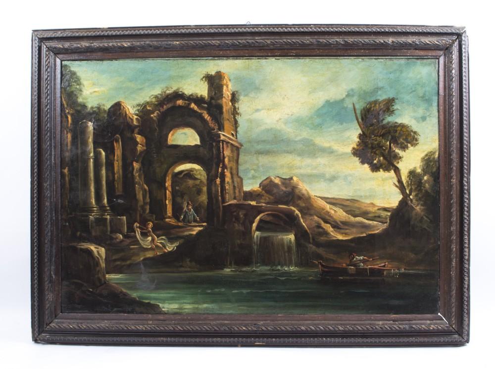 antique oil painting landscape ruins c1910