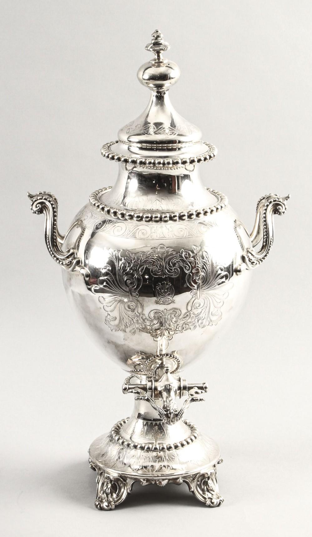 antique english victorian silver plated samovar c1860