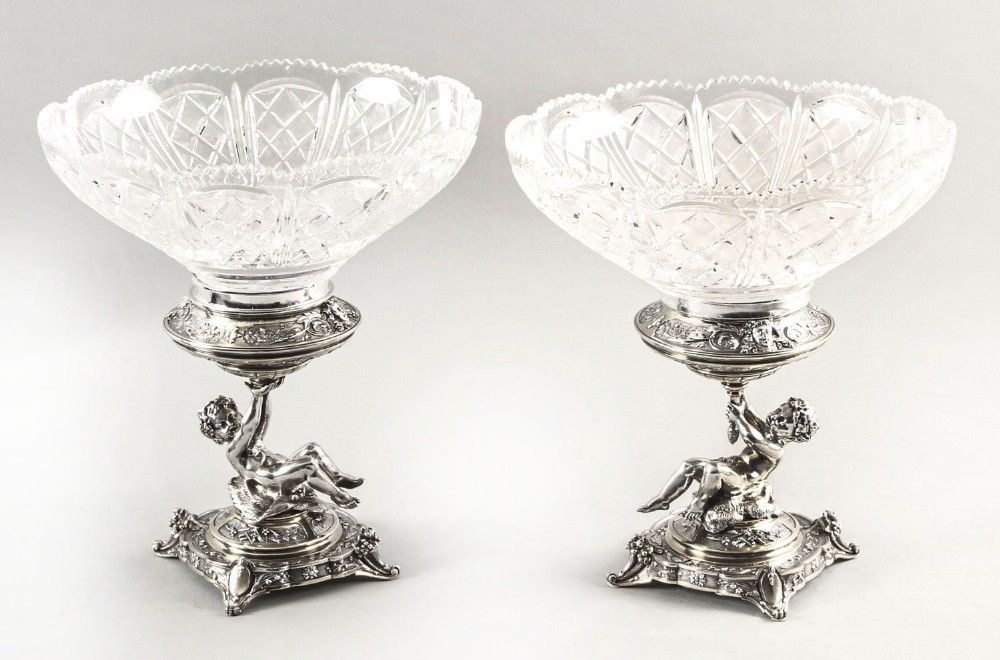 antique pair english victorian silver plate cut glass centrepieces 1883 19th c