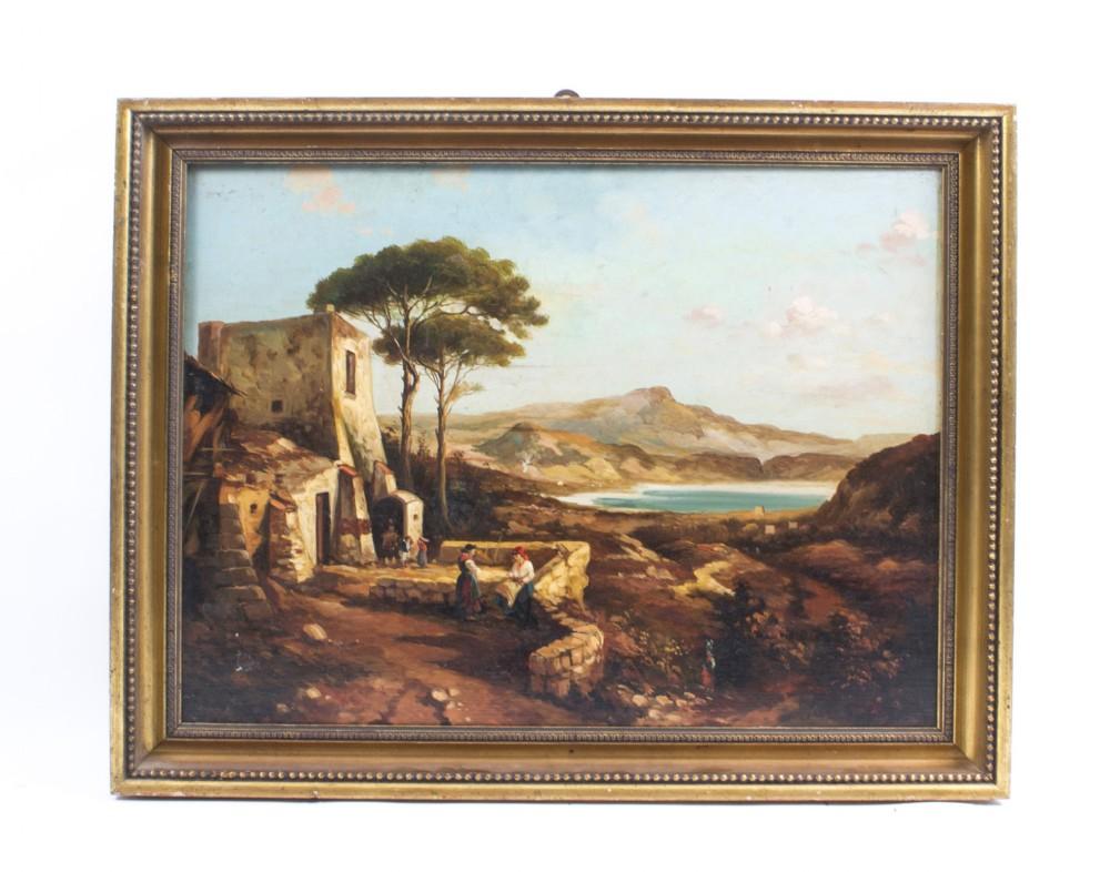 antique painting neapolitan landscape postiglione c1880