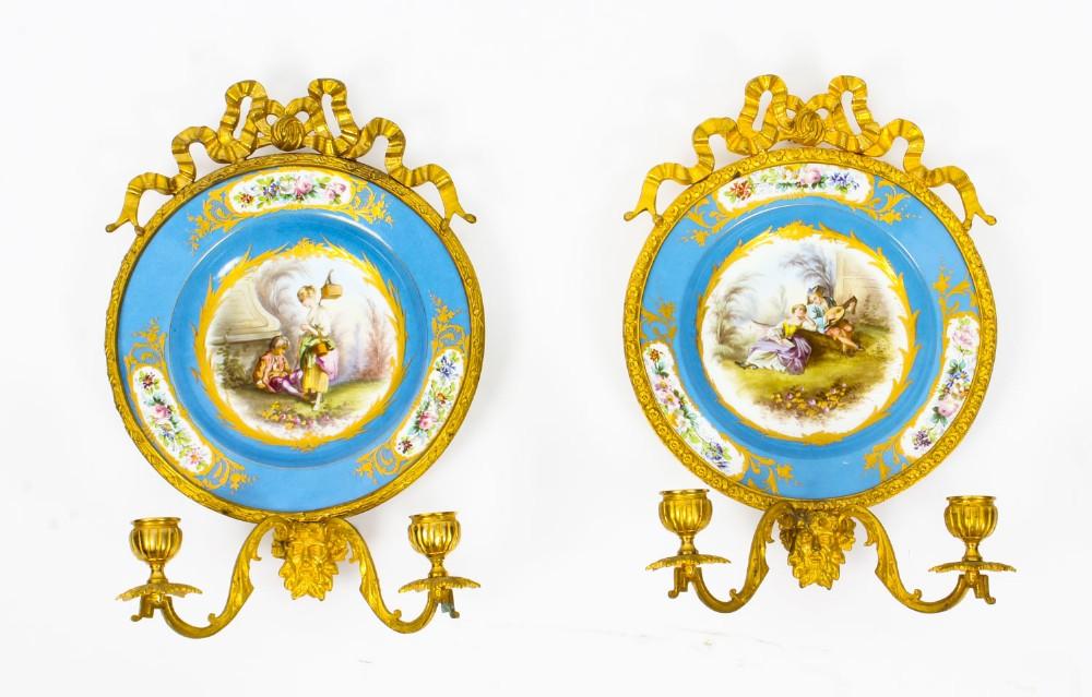 antique pair ormolu sevres porcelain two branch wall lights sconces 19th c