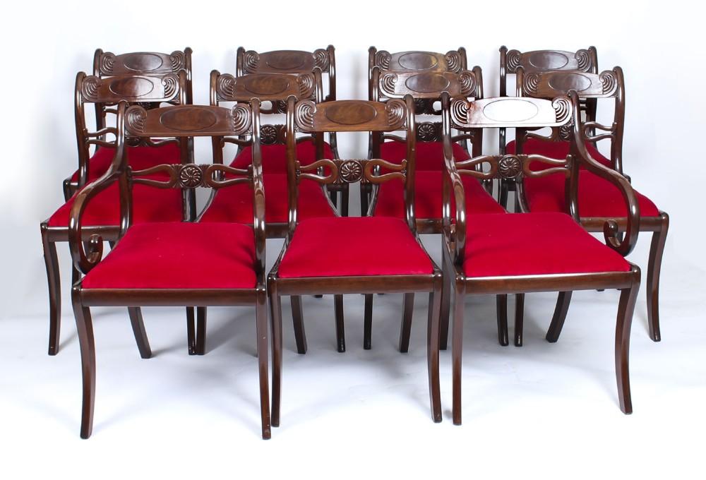 antique set 11 english mahogany regency dining chairs 19th century