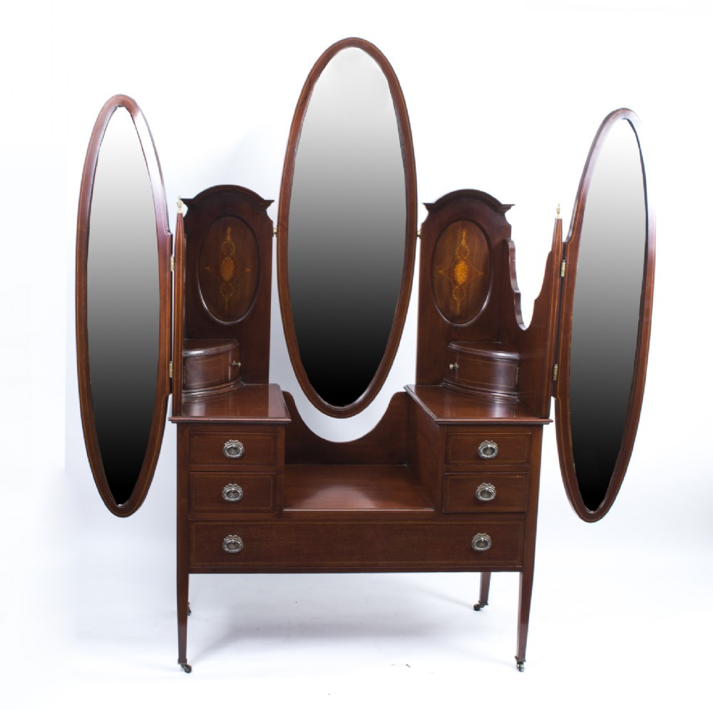 antique edwardian mahogany triple mirror dressing table c1900