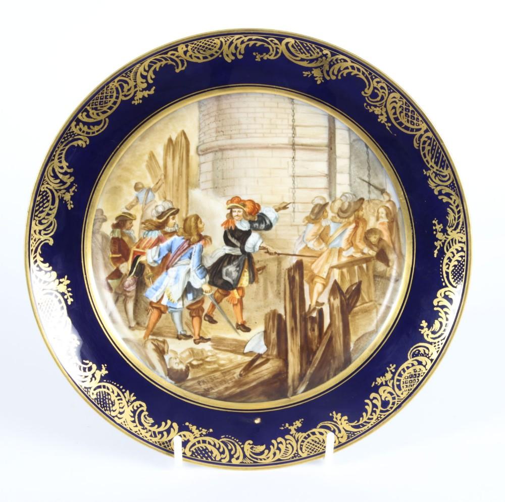 antique french sevres porcelain gilt plate prise de valence 19th c