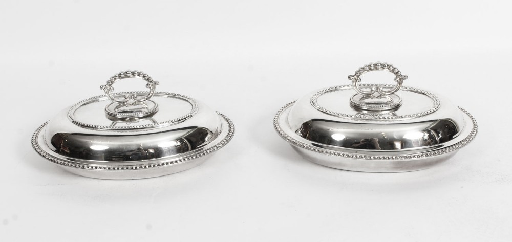 antique pair oval entree dishes tureens covers 19th century