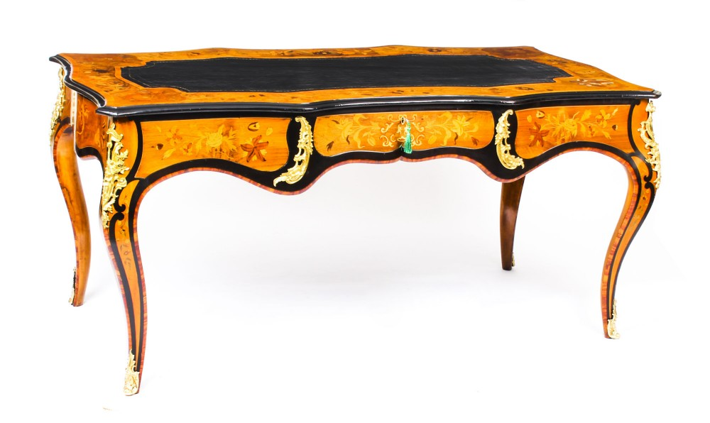 antique burr walnut marquetry bureau plat writing table 19th century